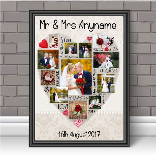 Personalised Mr & Mrs Wedding / Anniversary Photo Poster Print Word Art Keepsake Gift N126 Unframed